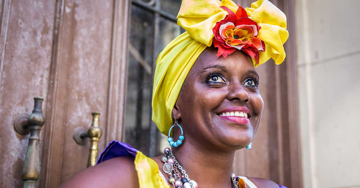 Smiling woman in Havana, Cuba
