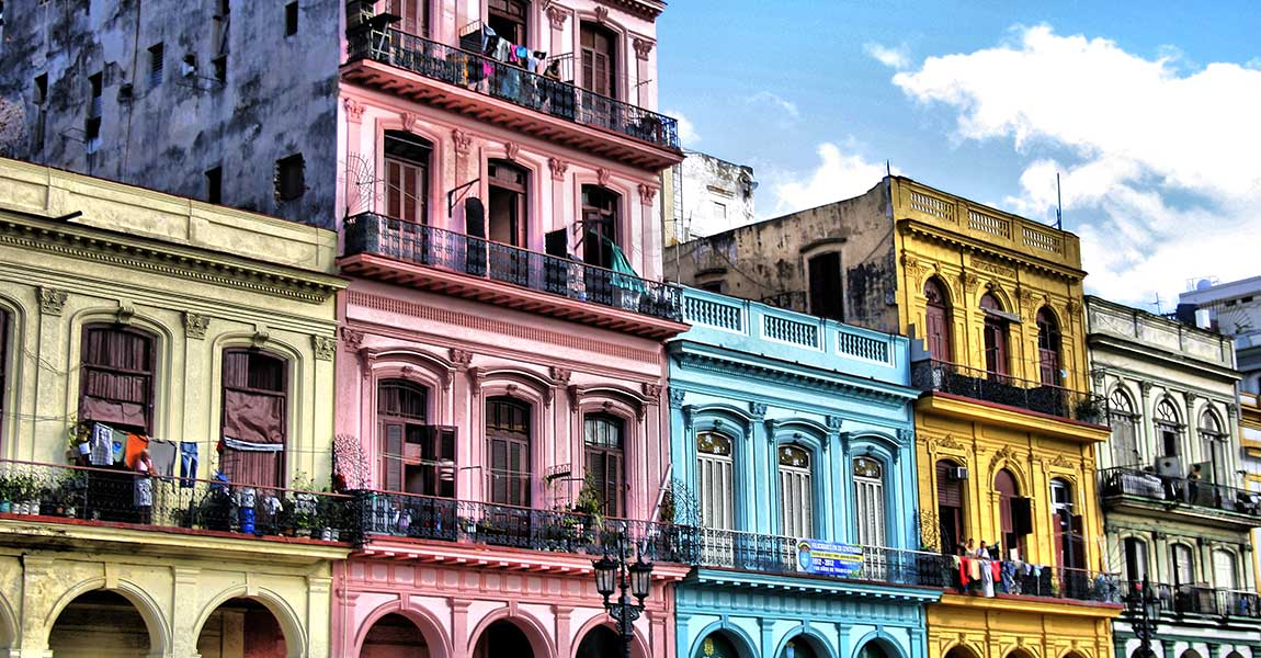 Colourful buildings in Havana, Cuba