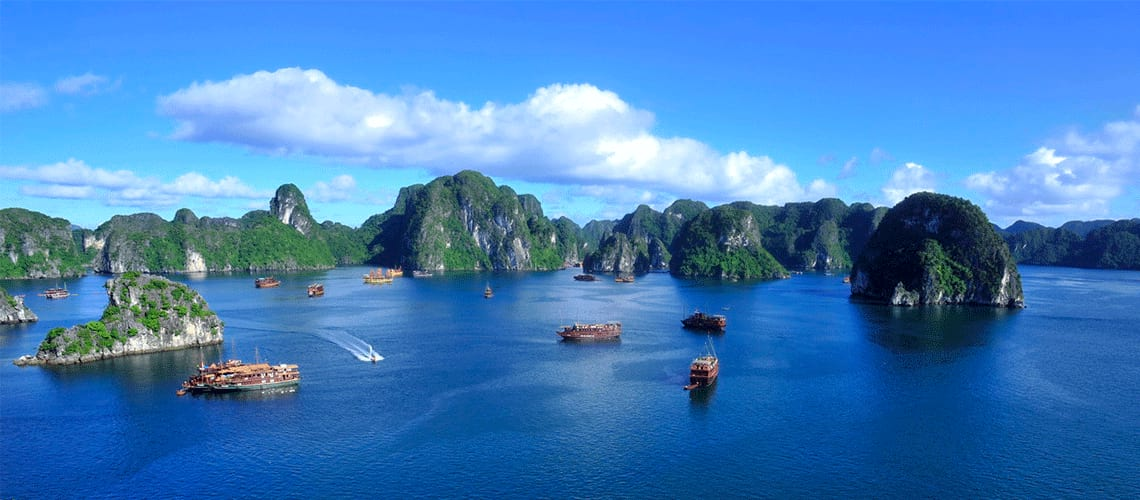 Interspersed Islands around the deep blue waters of Halong Bay, Vietnam